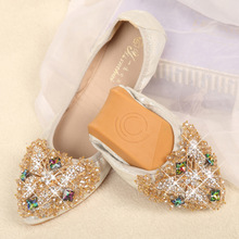 Diamond Shoes Woman Egg Roll Tidal Flow Dance Banquet Asakuchi Shoes Woman Pointed New Small Autumn Shoes Sports Flat Arder Shoe