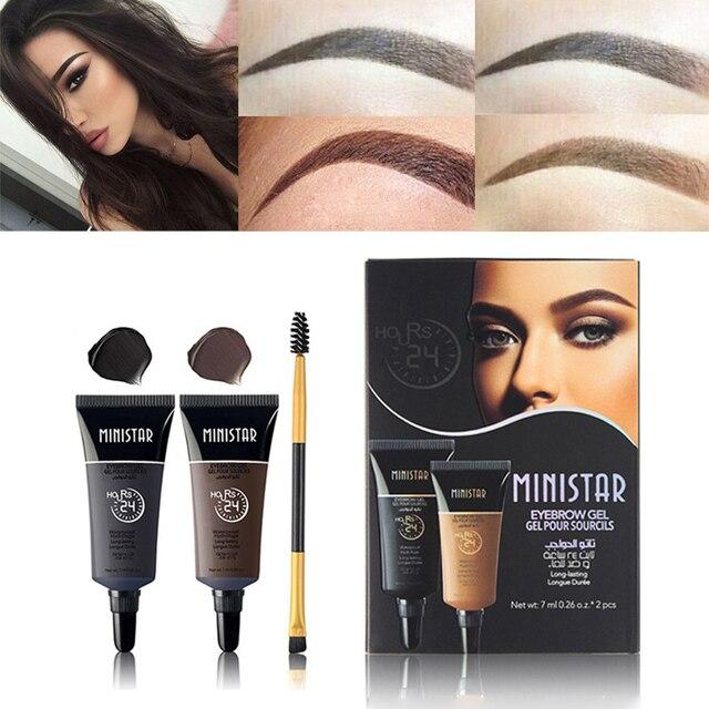 2pcs Eyebrow Shadows Pigments Black Brown Henna Eyebrow Gel Long