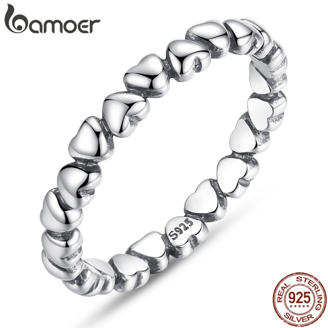 BAMOER 925 100% Solid Sterling Silver Forever Love Heart Finger Ring Original Jewelry Gift GLOBAL SHOPPING FESTIVAL 2018 PA7108