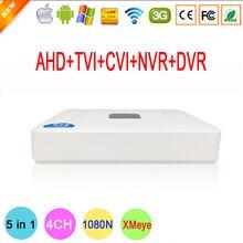 1080N XMeye 4 Канал 4 CH Мини 5 в 1 Коаксиальный Гибридный CVI TVi IP NVR AHD DVR Для 1080 P Камеры Наблюдения Бесплатная Доставка