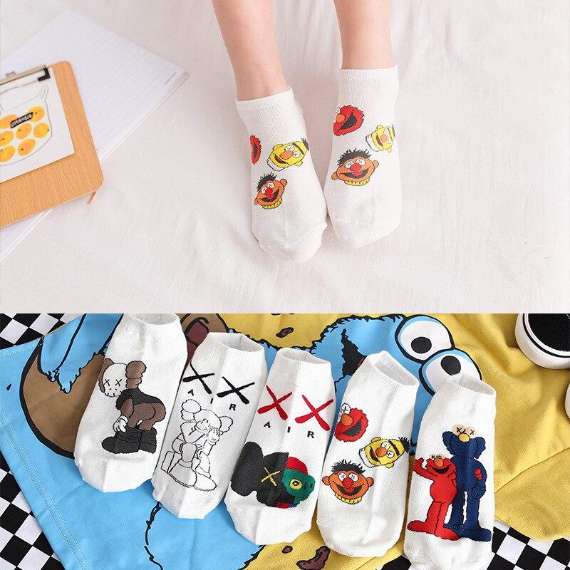 1 Pair Women Cartoon Sesame Street   Socks   Casual Girl's creativity fashions   Socks   cotton Breathable Ankle   Socks   for gift
