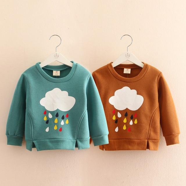 Baby girl sweatshirt clouds raindrop 2016 children's autumn  t shirts girls clothing fleece outerwear girl t shirt children tees