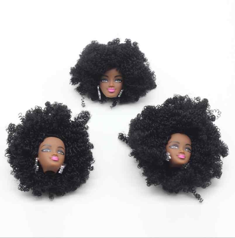 שחור גברת בובת ראש ארוך שיער גדול צמת Curve שיער בובת אביזרי ילדה DIY הלבשה נסיכת צעצוע ראשי שחור בובה צעצוע חלקי