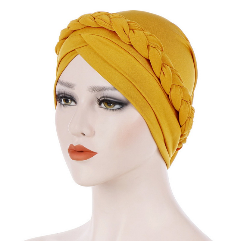 Cap African Style Muslim Turban Hair Accessories Women Solid Braided Bandanas