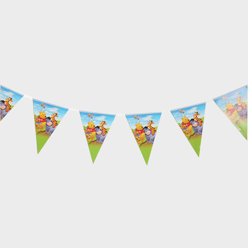 1set Baby Shower Party Kids Favors Pennants Happy Birthday Decoration Winnie The Pooh Theme Flags Cartoon Paper Hanging Banner
