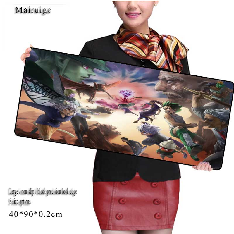Grande 900*400mm Hunter X Hunter Gaming Mouse Pad Large Cartoon Anime Rubber Mouse Pad Keyboard Mat Table Mat for Dota 2 CS Go