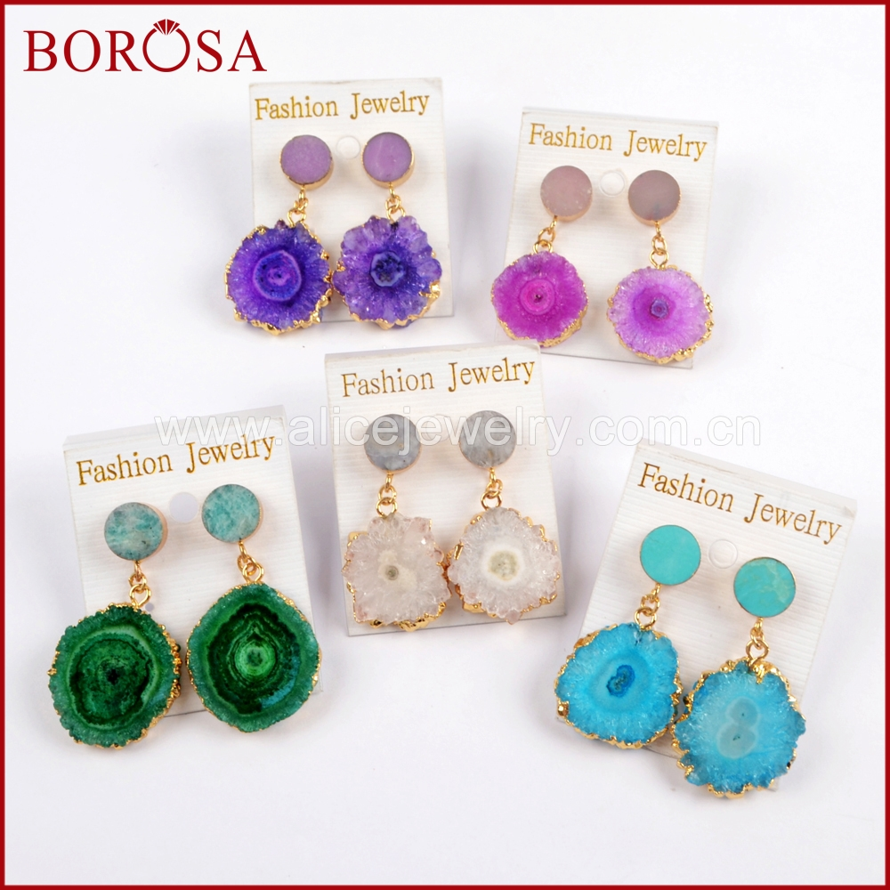 BOROSA 5Pairs Gold Color 10mm Round Multi Natural Stones With Rainbow Solar Quartz Charm Earrings Dangle Earrings Jewelry G1576