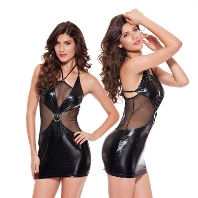 Black Leather Lingerie Latex Dress Bikinis Picardias Sexy Lingerie Plus Size Sexy Transparent Babydoll Intimo Donna