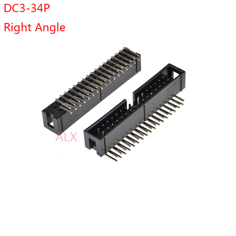 2 Pack IDC Straight Latched PCB Plug Connector 34 Way