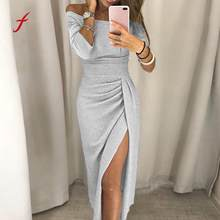 elegant autumn Women Off Shoulder High Slit Bodycon Dress Long Sleeve Dresses club robe clothes elbise vestidos verano 2018(China)