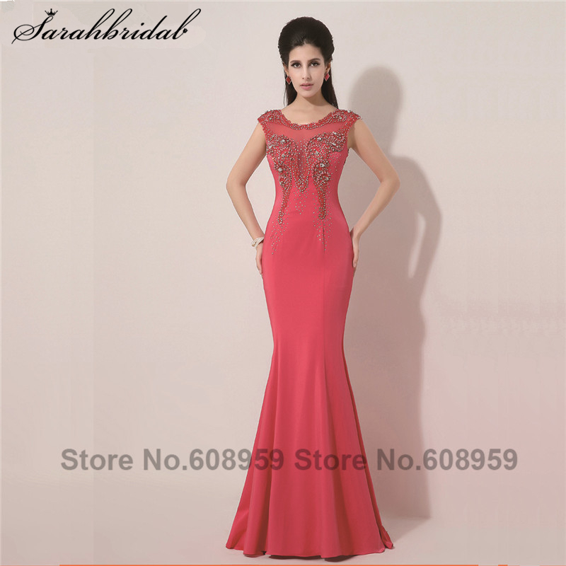 In Stock Long Elegant Mermaid Evening Dresses Crystal Floor Length Chiffon Sexy Prom Dresses Real Photo
