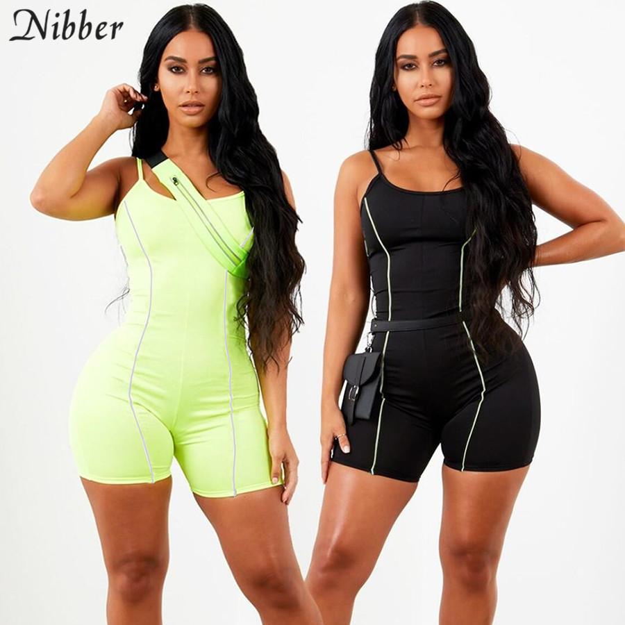 summer Neon color Reflective sleeveless playsuit 2019 fashion Basic black Elastic casual ladies bodysuit Jogging suit Sportswear