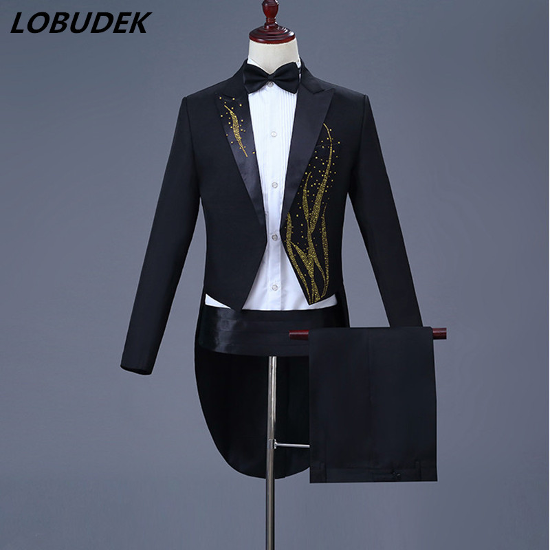Swallowtail Men Suits Black White Stones Tailcoat Bar Singer Stage Costume Magician Prom Host Wedding Chorus Stage Outfit