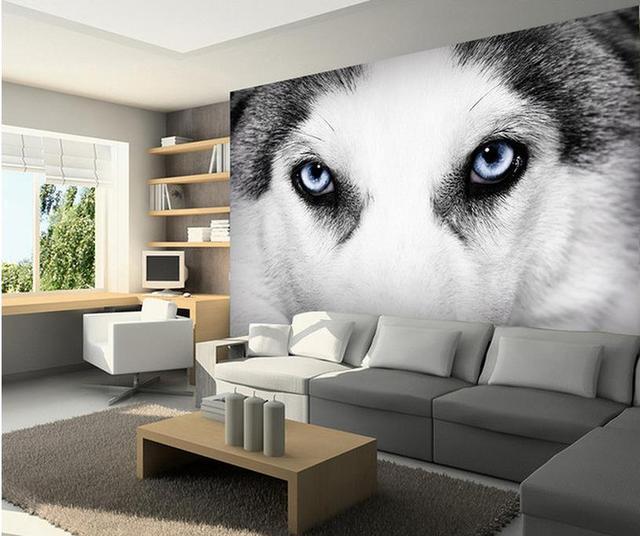 3d behang aangepaste foto muurschildering woonkamer hond ogen zwart ...