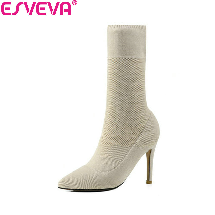 ESVEVA 2019 Women Boots Stretch Fabrics Sexy Boots Spring Autumn Shoes Thin High Heels Pointed Toe Shoes Ladies Boots Size 34-41