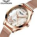 GUANQIN Luxury Brand Модные Женские Часы Световой Часы Женщины Стальной Сетки Ремешок Розовое Золото Браслет Кварцевые Часы reloj mujer