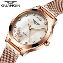 GUANQIN Luxury Brand Fashion Womens Watches Luminous Clock Women Steel Mesh Strap Rose Gold Bracelet Quartz Watch reloj mujer
