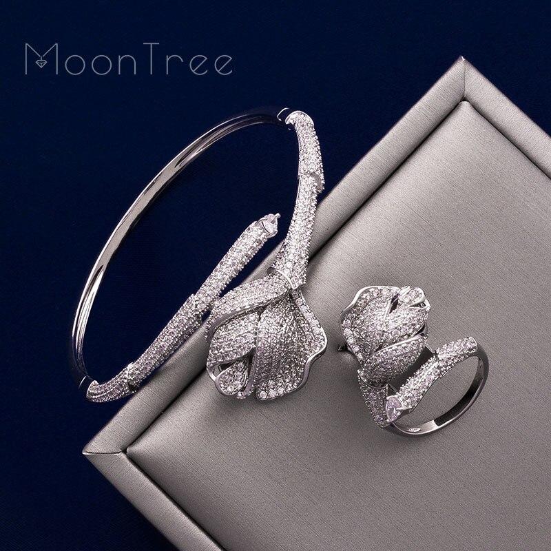 MoonTree fleur de luxe Rose Mirco pavé Microl zircone cuivre femmes fête mariage saoudien arabe Dubai bracelet bague ensemble-in Parures de bijoux from Bijoux et Accessoires    2