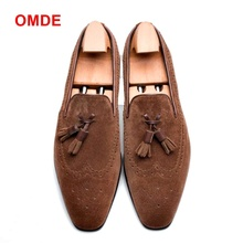 OMDE New Arrival Slip On Leather Shoes Men Handmade Suede Tassel Loafers Italain Style Casual Banquet Prom