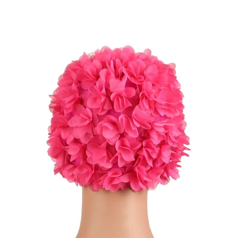 3D Women Lady Floral Petal Retro Swimming Hat Flower Bathing Swim Cap Hat New