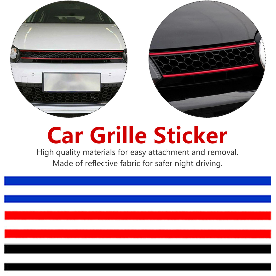 Car Grille Sticker Decorated For Volkswagen Golf 6 7 Red/blue/black Stickers Reflective Stickers Auto Parts