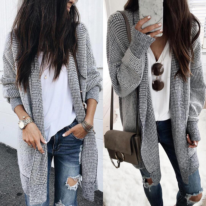 Women Fashion Check Long Cardigan Coat Jacket Ladies Casual Autumn Long Sleeve Coat Outwear Women Tops Black and white grid 4