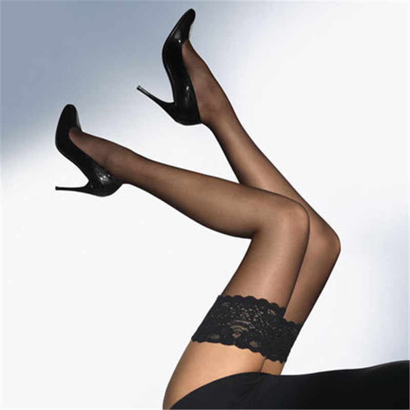 Lace Sexy Women's Stockings Summer Style Transparent Nylon Stockings Pantyhose Female Elastic Thigh High Long Stockings Medias