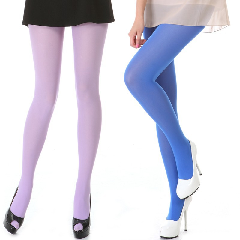 women 80d opaque nylon tights pantyhose bright color hosiery large size high quality s m lchina - Collants Opaques Colors