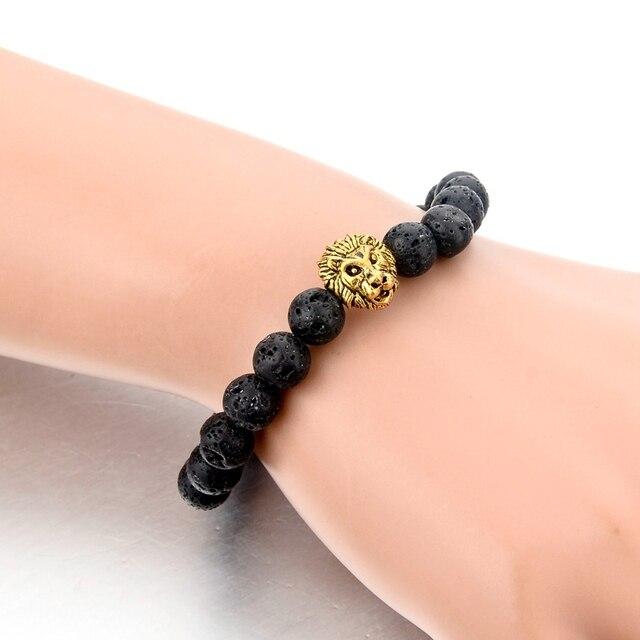 Chicvie синий натуральный камень зернистый браслет с Львом женские