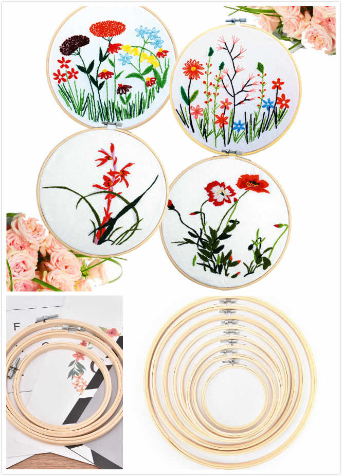 8 Size 10-40cm Embroidery Hoops Frame Set Bamboo Wooden Embroidery Hoop Rings for DIY Cross Stitch Needle Craft Tools