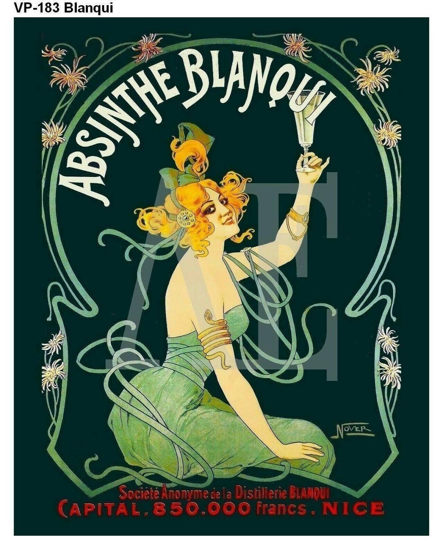 N2125 Absinthe Blanqui Nouveau Lady Green Dress Wall Sticker Silk Fabric Poster Art Indoor Decor Bright