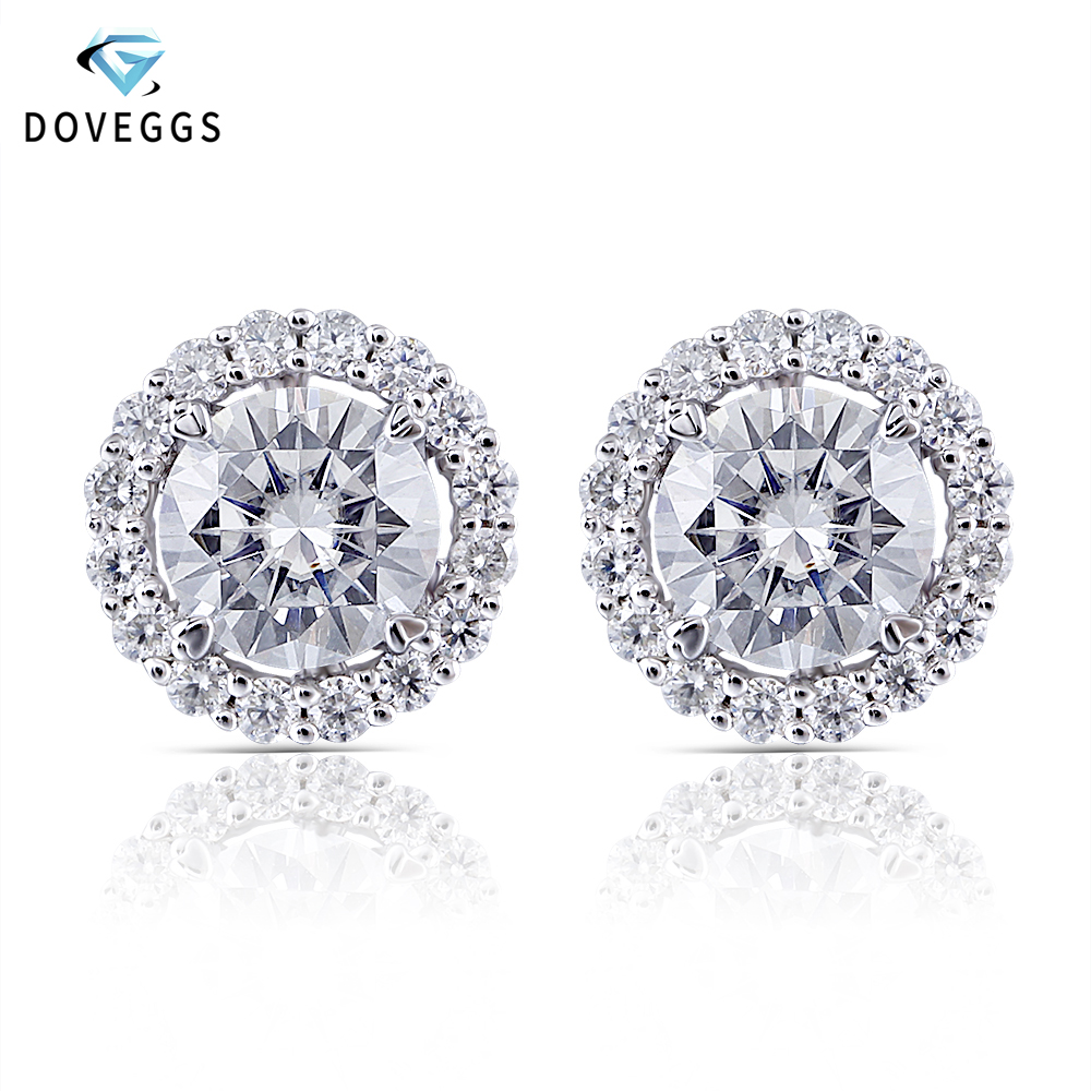 DovEggs Center 0 6ct 5 5mm F Color Moissanite Earring with Accents Classic 14K White Gold