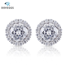 DovEggs Center 0.6ct 5.5mm F Color Moissanite Earring with Accents Classic 14K White Gold Stud Earrings For Women Anniversary