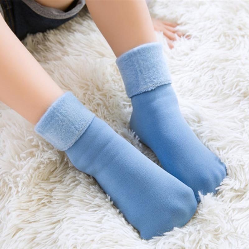 Winter Socks Plus Velvet Thickening Kids Thermal Warm Socks Children Toddler Baby Girls Boys Floor Socks For 4-10 Years Old