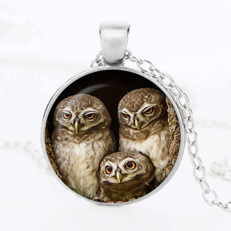 New Owl's family Pendant Round owl necklace Bird Jewelry accessories Art Pendant Gift for couples glass dome cabochon
