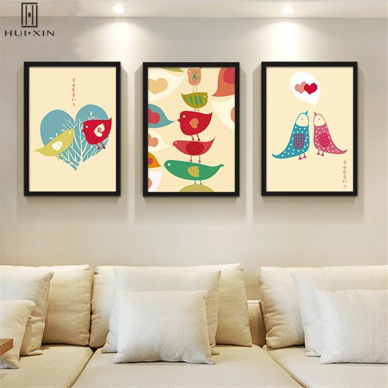 По-детски Unframed живопись для декора детской комнаты на день рождения Подарки прекрасный Товары для птиц поцелуи каждый Другое любовь без рам... ...