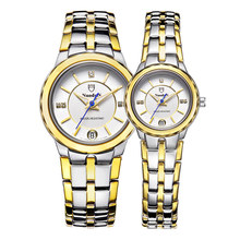 Nuodun Золото Большой Циферблат Повседневная Мода Часы Мужчины Luxury Brand Полный Календарь Водонепроницаемые Часы 2016 Нержавеющая Сталь Немецкий Часы