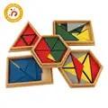 Brinquedo do bebê materiais montessori brinquedos de madeira que constituem um triângulo casa escola caixa geométrica brinquedos jogos quebra cabeça