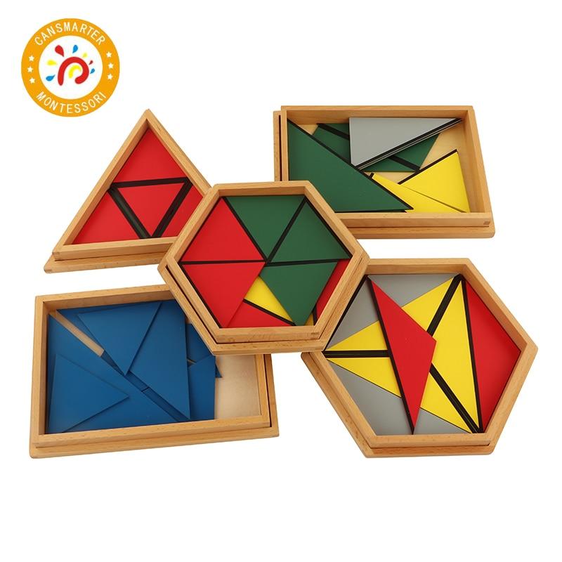 Jouet bébé Montessori matériaux jouets en bois constituant un Triangle maison école boîte géométrique jouet jeux puzzle