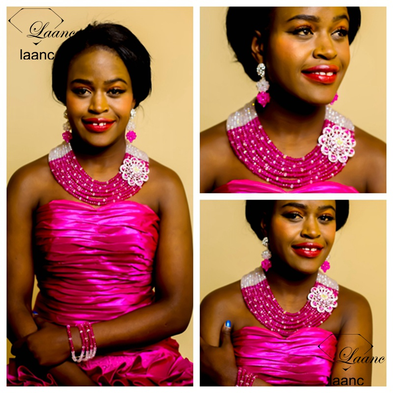 Laanc Brand Indian Bridal Jewellery Nigerian Wedding African Beads Bridesmaids Jewelry Set Crystal Clear Hot Pink Necklace AL267