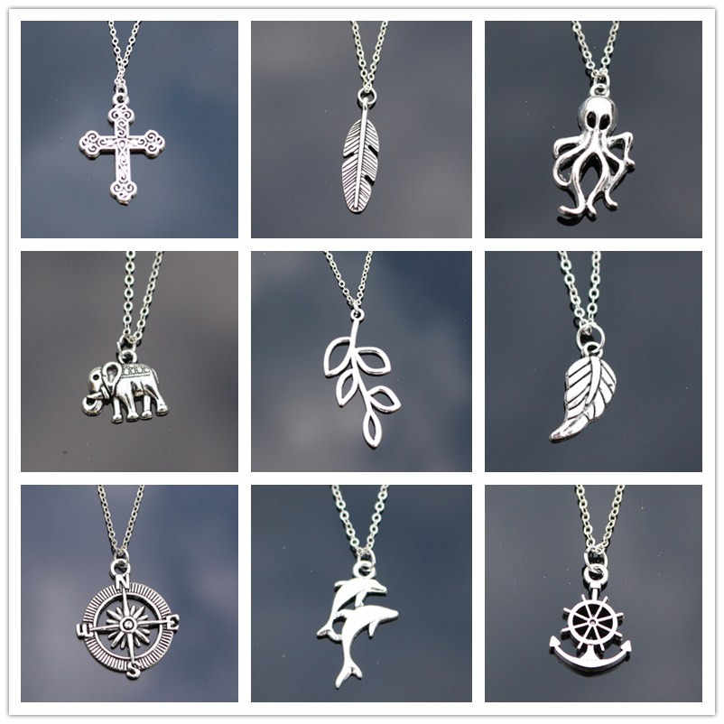 New Punk Clavicle Collares Vintage Dragon Owl Dolphin Leaf Cross Heart Anchor Elephant Pendant Necklaces For Women Chain Jewelry