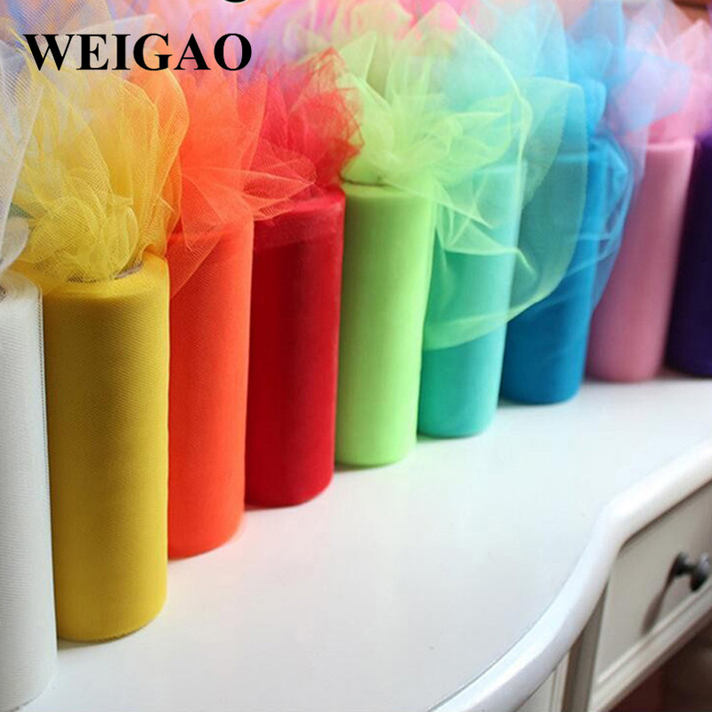 WEIGAO Tulle Roll 100Yards Wedding Tulle Fabric Spool Girl Tutu Skirt Birthday Party Decoration Kids Baby Shower Table Supplies