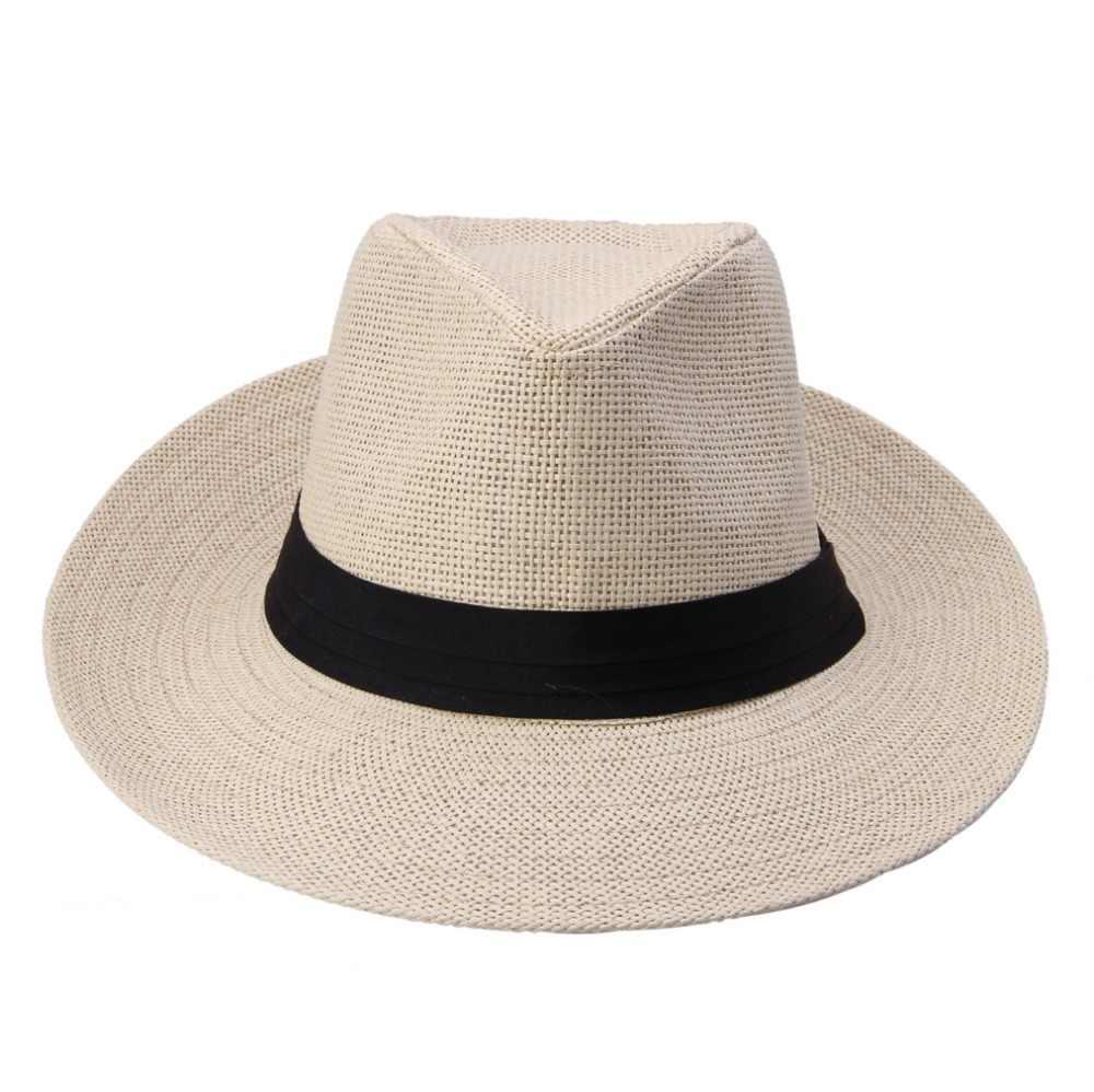 33e2b60cf28 ... Hot Fashion Summer Casual Unisex Beach Trilby Large Brim Jazz Sun Hat  Panama Hat Paper Straw ...