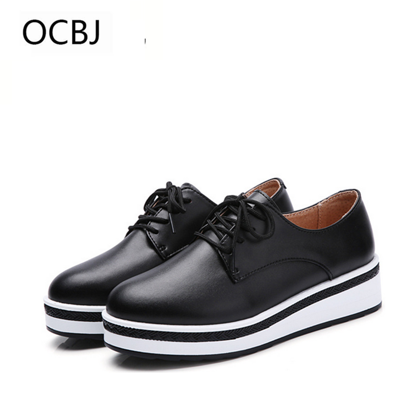 Thick Sole Women Leather Shoes Lace up 2018 New Spring & Autumn Increasing Height Women Casual Shoes High Quality 35-40 free shipping spring autumn women s flatform casual all match board shoes height increasing shoes