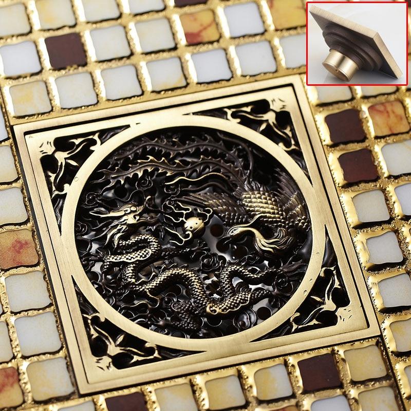 цены  Modern Antique Brass Square Dragon Shape Bathroom Shower Floor Drain Washer Grate Waste Drain 4