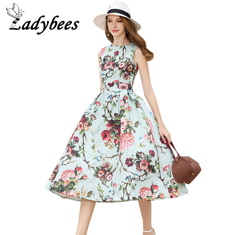 Buy Cheap LADYBEES Summer Foral Dresses boho Women vintage elegant Princess Party Dress Retro 2017 High quality New ball gown Beach Robes