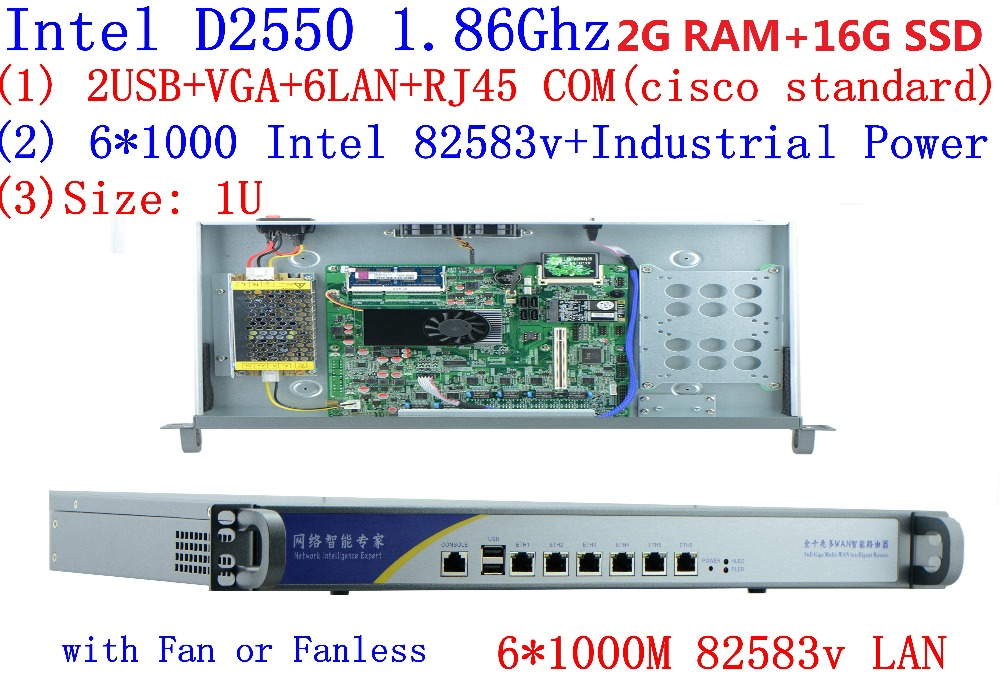 Firewall  Networking Serer With Atom D2550 1.86G 6*intel PCI-E 1000M 82583v Lan Support Intelliegent Flowcrl ROS 2G RAM 16G SSD