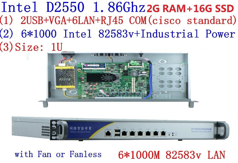 Firewall  Networking Serer With Atom D2550 1.86G 6*intel PCI-E 1000M 82583v Lan Support Intelliegent Flowcrl ROS 2G RAM 16G SSD