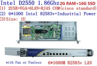 firewall networking serer with atom D2550 1.86G 6*intel PCI E 1000M 82583v Lan support intelliegent flowcrl ROS 2G RAM 16G SSD