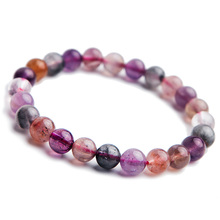 7mm Newly Natural Colorful Auralite 23 Cacoxenite Red Crystal Round Beads Bracelet Women Men Best Stone Jewelry AAAAA